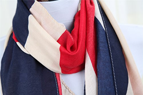 Foulard drapeau design moderne 100 x 180 bandana uK drapeau uSA vintage écharpe unisexe modèle Multicolore - UK Flagge Design (Groß Flagge)