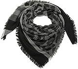 styleBREAKER XXL Viereckstuch mit Streifen und Camouflage Muster, Fransen, Winter Schal, Tuch, Unisex 01018148, Farbe:Schwarz-Weiß