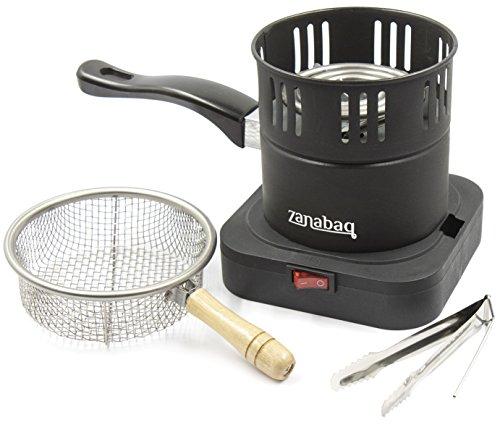 Zanabaq Shisha Kohleanzünder mit Kohlekorb, Elektrische Heizplatte inkl. Zange, Shisha Kohle Schnell anzünden und Einfach transportieren