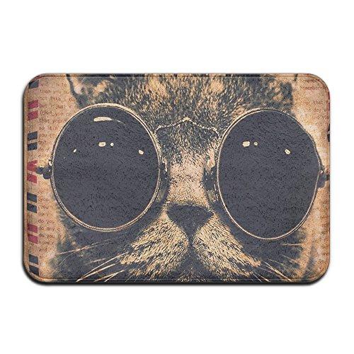 qifan Katze Brillen Dekorative Fußmatten Custom Waschmaschine gewaschen Fußmatte Cat Indoor-/Outdoor Decor Teppich Fußmatte (23,6x 15,7)