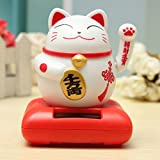 Bargain World Con energía solar maneki neko bienvenida tentar el gato fortuna muebles de decoración para el hogar de la suerte