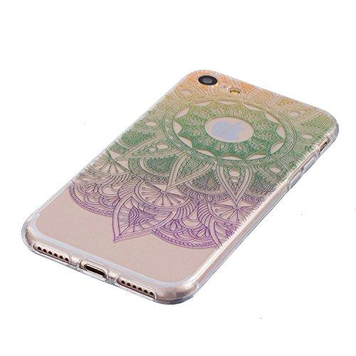 Coque iPhone 6 6s Housse étui-Case Transparent Liquid Crystal Mandala en TPU Silicone Clair,Protection Ultra Mince Premium,Coque Prime pour iPhone 6 6s-Blanc Vert
