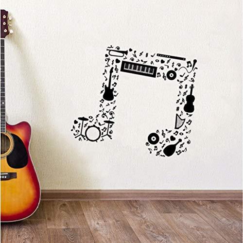 Lovemq Orchestermusik Hinweis Wandaufkleber Gitarre Saxophon Flöte Schlagzeug Orchester Wandtattoo Neue Musiknoten Vinyl Wandkunst Wandbilder 57X50 Cm