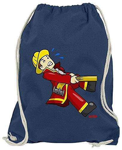 Themen Kostüm Auto - HARIZ Turnbeutel Feuerwehrmann Schlauch Ziehen Feuerwehr Lustig Inkl. Geschenk Karte Navy Blau One Size