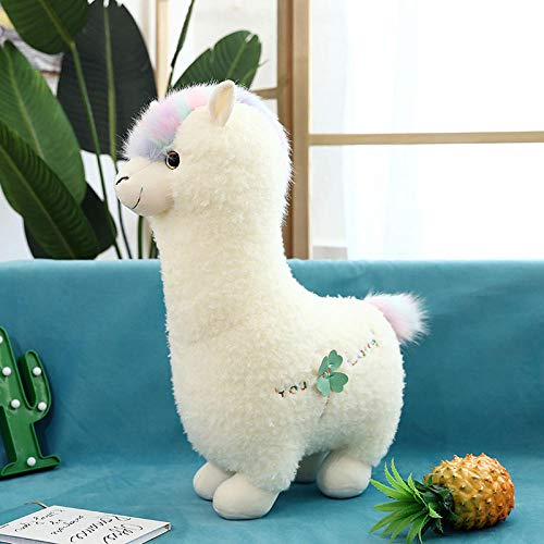 ZHANGDAWEI Alpaca de fantasía muñeca de Peluche muñeca Linda Almohada - Alpaca de sueño Blanco_46 cm [colección más Notas del Carrito de Compras Enviar Rosas]