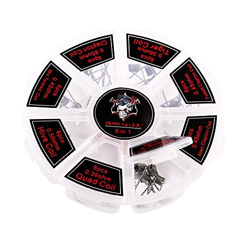 Demon Killer 8 in 1 Pre-build Coils, 48 pcs Pre-made Coils Kit, Auswahl von 8 Styles Clapton Coil Heiz Drähte, 6 jedes Stils Coil Kommt mit 8 Laken Muji Baumwolle - Perfekt für RDA, RBA, RDTA (Build-typ)