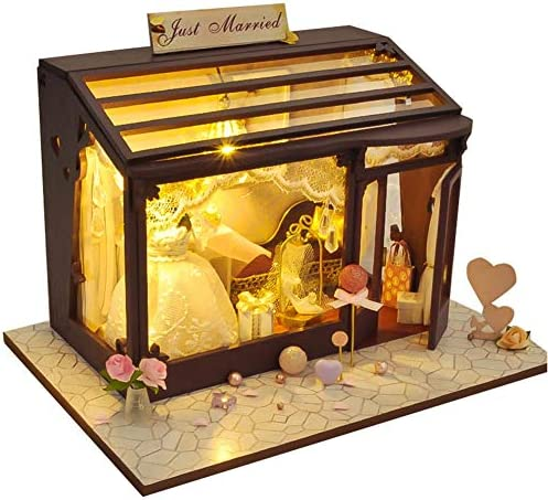 Starter Maison De Poupée Bricolage, Kit De Bricolage En En En Bois Fait À La Main Avec Mini-poupée 3D Avec Lumières DEL, Accessoires De Maison De Poupée Pour Confiserie De Jardin De Fleurs. B07MQFNRVW 913cb3