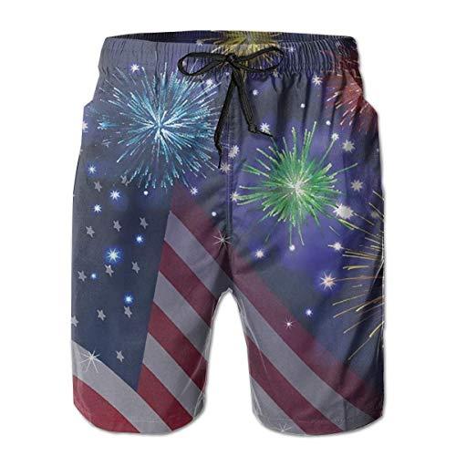 shizh Herren Badehose Amerikanische Flagge 4. Juli Independence Memorial Day Casual Sportswear Quick Dry Beach Shorts für Jungen Sommer -