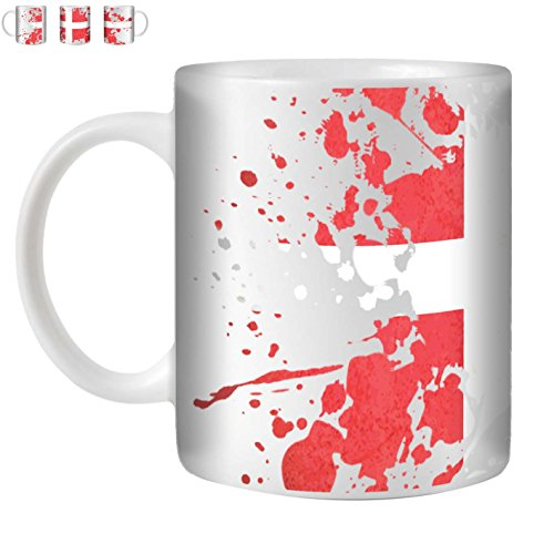 STUFF4 Tazza di Caffè/Tè 350ml/Danimarca/Bandiere del Mondo Splat/Ceramica Bianca/ST10