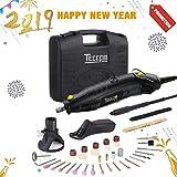 Herramientas Rotativas, TECCPO Professional 170W Amoladora eléctrica, 5 Velocidad Variable 8000-35000RPM, Tamaño de Pinza 0.8mm - 3.2mm, con 80 accesorios - TART04P