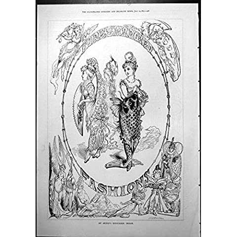 Impresión Antigua de las Modas Presagiadas Vestidos 1877 de la Sirena del Sueño del Pleno Verano de los Artistas