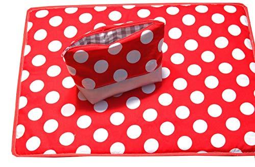 Wickelunterlage (besonders für unterwegs) mit passendem Täschchen für Creme usw, Kosmetiktäschen, Wickelset,Geschenkset für Baby