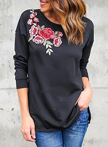 ACHICGIRL Women's Casual Long Sleeve Floral Embroidery Pullover Tee Black