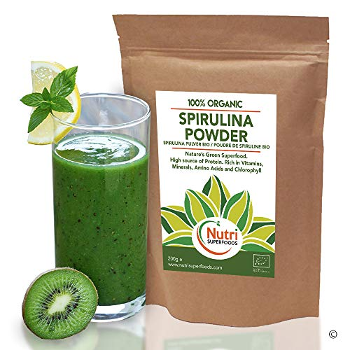 SPIRULINA POLVERE BIOLOGICA, fonte naturale di proteine vegane di prima qualità, superfood sano, energetico e nutriente con un alto contenuto di clorofilla - 500g