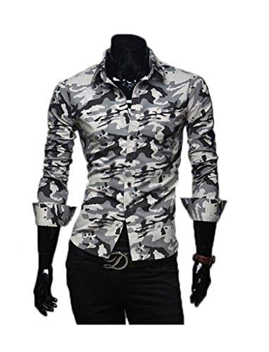Herren Camouflage Militär Stil Lange Sleeve Hemd YRCS78 Beige