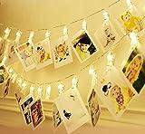 LED Foto Clips Lichterketten Stimmungslicht ilauke 20 transparent Foto-Clips 2,5 Meter warmweiß 3AA batteriebetrieben mit Ein/Aus als Deko für Fotos Aufhangen Hochzeit Weihnachten Memos Bilder