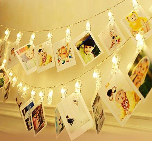 ilauke LED Foto Clip Stringa Illuminazione, 20 Foto Clips Molletta 250cm Batteria Alimentato LED Immagine Illuminazione per Giardini Casa Matrimonio Festa di Natale Compleanno