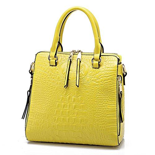 Mefly Leder Tasche Leder Handtasche Schultertasche yellow