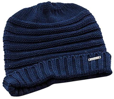 minakolife massif côtelé Bonnet–Câble stretch doux tricot–Bonnet chaud - bleu