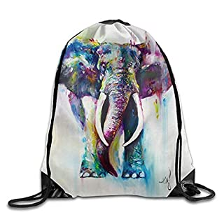 Elephant Paintings Art3D Print Drawstring Backpack Rucksack Small Shoulder Bags Gym BagPrint Drawstring Backpack