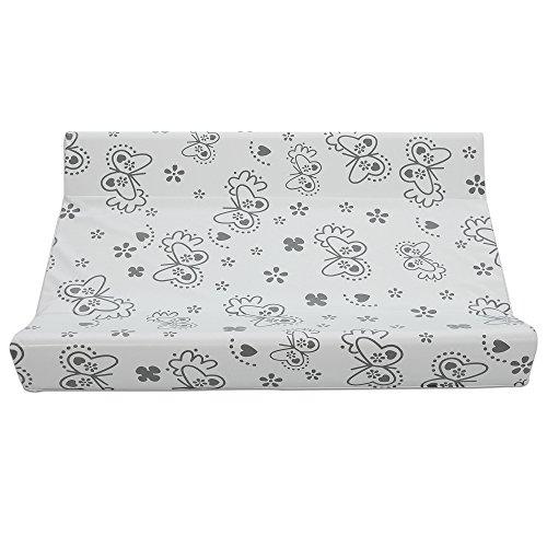 Preisvergleich Produktbild Wickelbrett Silver Butterfly | First Baby Safety | Wickeltischauflage für baby |Wickelplatte mit wickelauflage und Holz brett für Betten 140*70 und 120*60 cm | 80 x 47 x 9,5 cm
