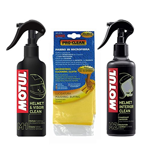 Kit pulizia Casco MOTUL M1 Helmet & Visor + M2 Helmet Interior + Pannopelle Pro-Clean