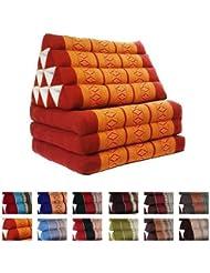 Coussin Thai - Pouf - Triangulaire - Capoc/coton - Avec assise 3 plis - Koh Phangan - Rouge/orange