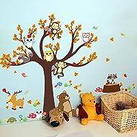 Swiftswan Baby Nursery Decorative Wall Art Sticker Decals, Unique Forest Animal Giraffe Monkey Owls Tree Wall Sticker Mural Decal by Swiftswan