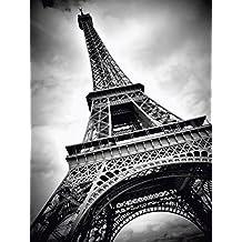 Artland Póster De Impresión o Lienzo–Cuadro de Imagen listo Madera Contrachapada en bastidor Melanie Viola Torre Eiffel Paris Arquitectura del Edificio Monumentos de fotografía blanco y negro
