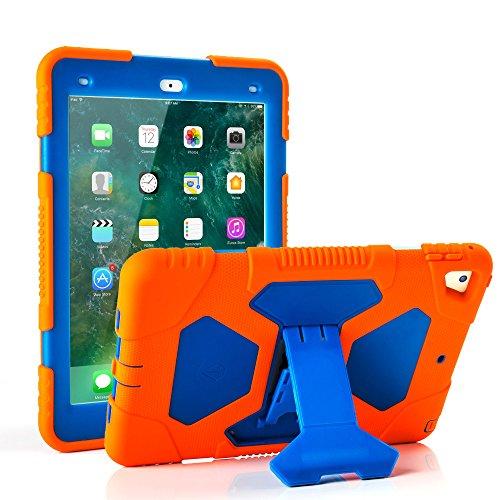 Neue iPad 9,72018/2017Fall, kidspr leicht stoßfest Robuste Cover mit Stand Schutz Full Body Rugged für Kinder für neue Apple iPad 24,6cm 2018/2017(6. Gen, 5. Gen.) orange/blau (Apple Ipad 16 Gb 1. Gen)