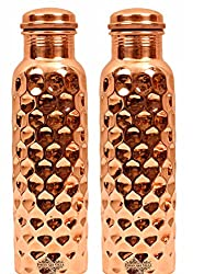 IndianArtVilla Mirror Shine Finish Lacqour Coated Diamond Design Set of Copper Bottle, Storage Water, Benefit Yoga, 1000 ML, 2 Pieces