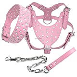 XIAOLANGTIAN Bling Strass Nieten Leder Hundehalsband Hundegeschirr Leine 3Er Set Walking Medium Large Dogs Pitbull Boxer Pink Schwarz Ml XL, Pink, L