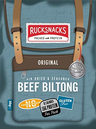 Rucksnacks Beef Jerky High Protein Snack | Echtes südafrikanisches Biltong-Rezept | Kalorienarm, zucker- & glutenfrei | Unterstützt Muskelwachstum und -reparatur | Geeignet für Keto & Paleo | 8 x 30 g