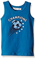 Minymo Boy's Chen 72 Undershirt Print/Stripe Vest, Mykonos Blue, 18-24 Months (Manufacturer Size:92)