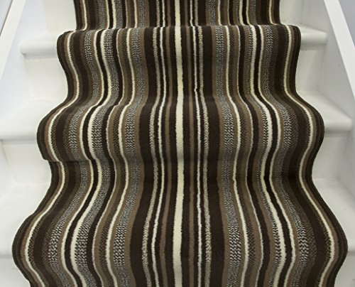 Lima 459 Choco New Cut To Any Length Brown & Beige Striped Stair Carpet - 70cm Wide
