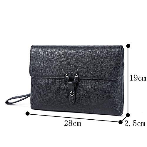 Genda 2Archer Borsa in Pelle Uomo Borsa Mini iPad Sacchetto di Busta Borsa da Polso (28cm*2.5cm*29 cm) (2028-BK) 2028-BK