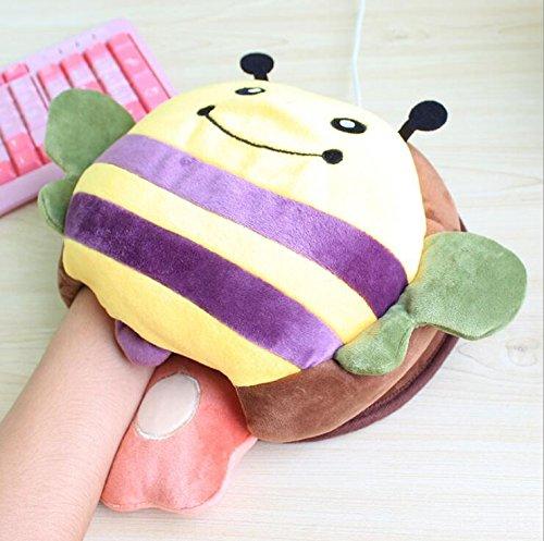 Kelaina Dessin animé de souris USB chauffant Chauffe-mains Tapis de souris avec protection de poignet, Colorful Bee, 23*20.5cm