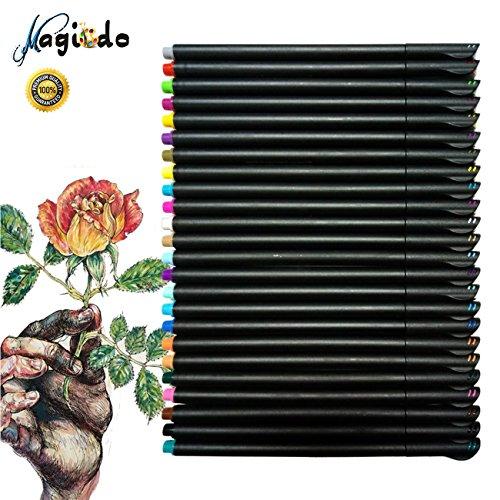 Magicdo Fineliner Farbstift Set, 24 Farben 0.4mm Fine Tip Pens für Bullet Journal und Planner (24)