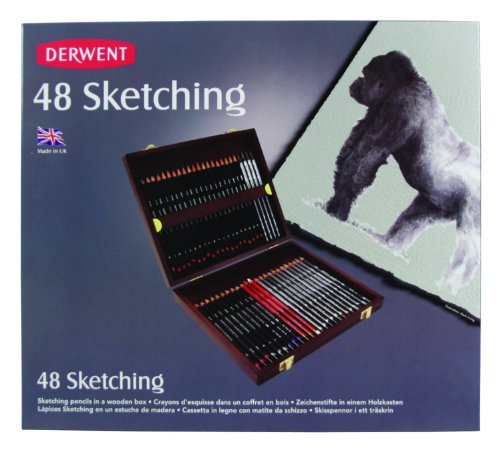 Derwent Sketching Collection, Set of 48 Pencils in a Wooden Gift Box, Professional Quality, 700759