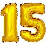 DekoRex® Folienballon Zahlenballon Luftballon Geburtstag Deko 40cm Gold Zahl: 15