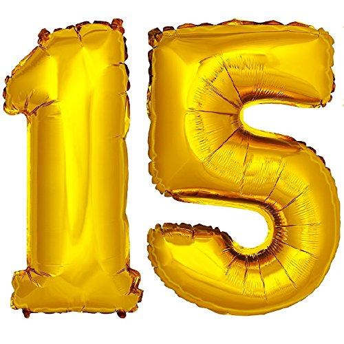DekoRex® número globo decoración cumpleaños brillante para aire en oro 40cm de alto No. 15