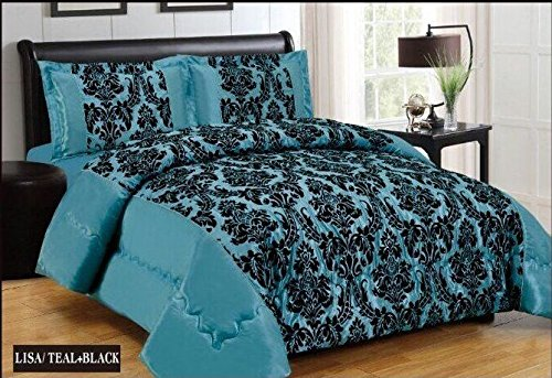 Super Luxus Lisa 4 Stück Damast Flock Bettwäscheset, Bettbezug Bettwäsche Set – Super King Size, Polyester, Teal Black, Super King