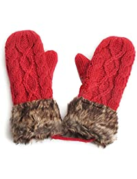 SODIAL(R) Warm Ladies Rag Wool Winter Snow Mittens Knitted Fleece Lined Fur Gloves-Red