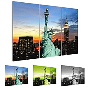 Pictures 120 x 80 cm (47.24 x 31.5 '') - Statue of Liberty Picture - Non-woven Canvas Picture - Canvas Wall Art - Art Printing – Wall Picture – XXL Format – More Colors and Sizes in Store – Completely Stretched !!! 100% MADE IN GERMANY!!! USA-New York-City-View-Buildings-Skyscrapes 603931a
