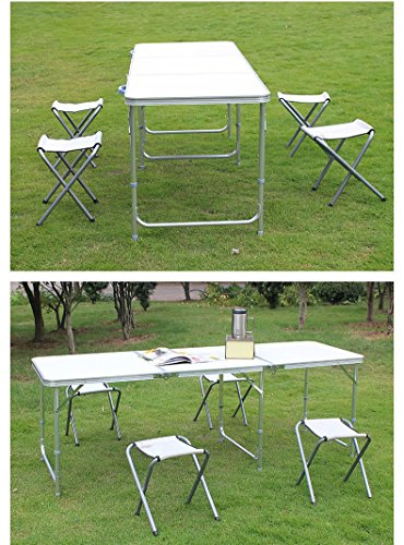 ADAALEN 6FT Aluminium Tragbare Camp Tabelle Einstellbare Jochbrücke Folding Picnic Table (6' Tabelle)