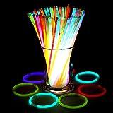 """Glowsticks, Bukm 8"""" Bracciali Braccialetti Luminosi Fluorescenti starlight glow stick con Connettori 100 pz"""