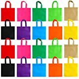 Aneco 20 Pack 10 by 10 Inch Party Bags Non-woven Tote Bags Gift Bag with Handles Goodie Treat Bag for Party Favor Kids Birthday Gifts, 10 Colors