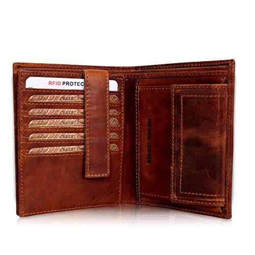 Leder Geldbörse Herren Groß I XL Geldbeutel Männer TÜV-geprüfter RFID Blocker I Vintage Portemonnaie braun in Geschenkbox Corno d´Oro 30006NC