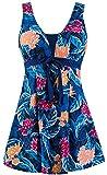 Wantdo Traje de Baño 1 Pieza para Mujer Monokini Estampado Floral Flor de Begonia 48-50