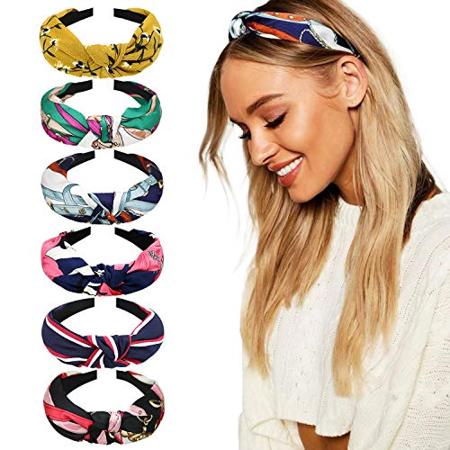 DRESHOW 8 Pieces Wide Headbands Knot Turban Headband Hair Band Elastic Hair Accessories for Women and Girls -
